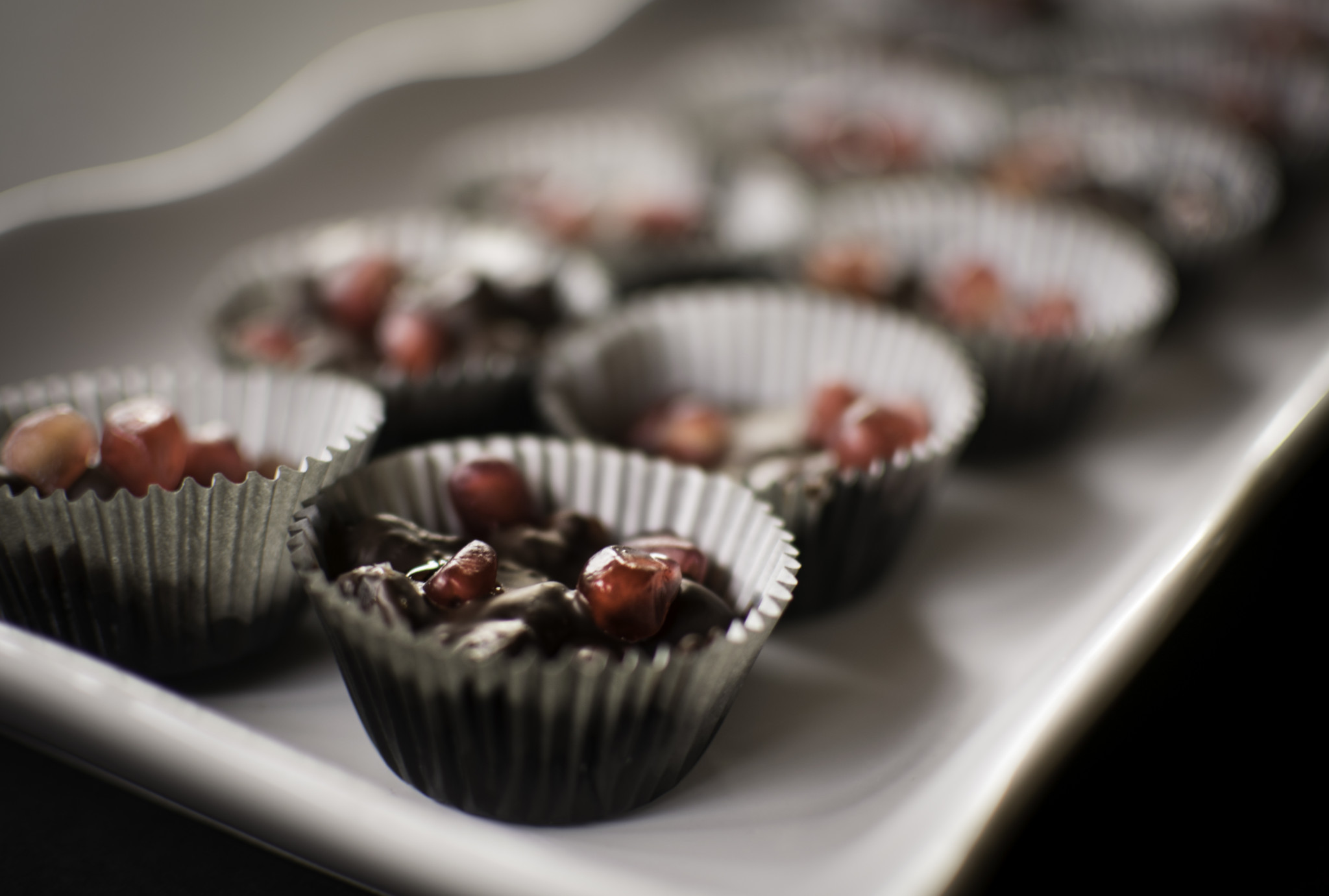 Salted Dark Chocolate Pomegranate Clusters